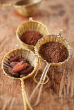 Hot chocolate flakes with chilli flavor in old rustic style silv Royalty Free Stock Images