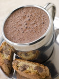 Hot Chocolate Florentine with Chocolate Biscotti. Hot Chocolate Florentine with Chocolate Cantuccini Biscotti stock photos