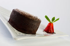 Hot chocolate fondant. With ice cream royalty free stock images