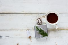 Hot chocolate and gift stock images
