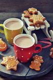 Hot chocolate with ginger cookies Royalty Free Stock Photo