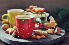 Hot chocolate with ginger cookies Stock Image