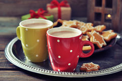 Hot chocolate with ginger cookies Stock Photo