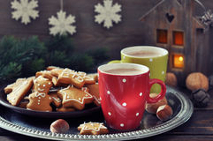 Hot chocolate with ginger cookies Stock Photography