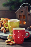 Hot chocolate with ginger cookies Royalty Free Stock Photos