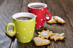 Hot chocolate and gingerbread cookies Royalty Free Stock Image