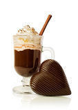 Hot chocolate in a glass and chocolate heart Stock Image