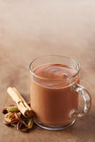 Hot chocolate in a glass cup Stock Image