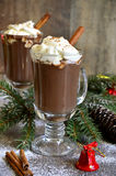 Hot chocolate in a glass. Royalty Free Stock Image
