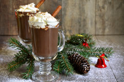 Hot chocolate in a glass. Royalty Free Stock Photos