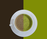 Hot chocolate and green tea. Two tone Stock Photography