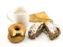 Hot chocolate and group of pastries Stock Photography