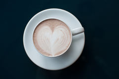 Hot chocolate with heart shape foam Royalty Free Stock Photography