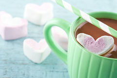 Hot chocolate and a heart shaped marsmallow Stock Photography