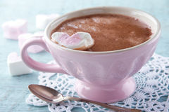 Hot chocolate in an elegant pink cup Royalty Free Stock Photography