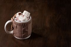 Hot chocolate. Drink with marshmallows for cold weather. Christmas celebration or cold winter concept with copy space royalty free stock photos