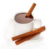 Hot Chocolate In Mug With Cinnamon Sticks Stock Photos