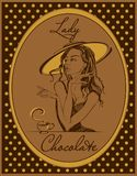 Hot chocolate. The label for the drink. Retro image. Elegant girl in a hat. Vintage. Frame with polka dots. Vector. vector illustration