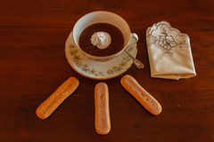 The hot chocolate with lady fingers Stock Images