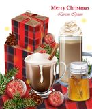 Hot chocolate, latte and gift boxes. Winter Holiday backgrounds. Hot chocolate, latte and gift boxes. Winter Holiday background Royalty Free Stock Photography