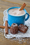 Hot chocolate with little cakes Royalty Free Stock Photography