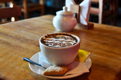 Hot chocolate with the look of a milfoil, Puerto Varas, Chile Royalty Free Stock Images