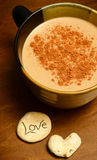 Hot chocolate with love on wood Royalty Free Stock Photos