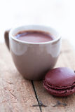 Hot chocolate and macaroon Stock Photos