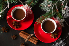 Hot chocolate with Madeleine cookies Stock Image