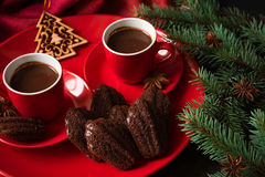 Hot chocolate with Madeleine cookies Stock Photography