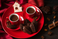 Hot chocolate with Madeleine cookies Royalty Free Stock Photos