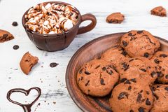Hot chocolate with marshmallow and chocolate cookies. Love. Heart. Valentine Day. Royalty Free Stock Photos