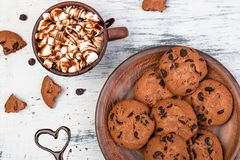 Hot chocolate with marshmallow and chocolate cookies. Love. Heart. Valentine Day. Royalty Free Stock Images