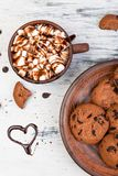 Hot chocolate with marshmallow and chocolate cookies. Love. Heart. Valentine Day. Stock Images