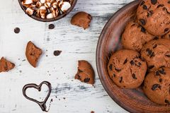 Hot chocolate with marshmallow and chocolate cookies. Love. Heart. Valentine Day. Royalty Free Stock Photography