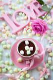 Hot chocolate and marshmallow Stock Images