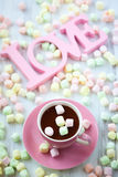 Hot chocolate and marshmallow Royalty Free Stock Photos