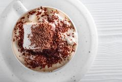 Hot chocolate and marshmallow sprinkled with chocolate chips. Stock Image