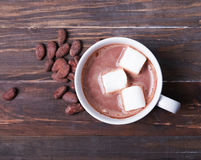 Hot chocolate with marshmallow in white cup Stock Image