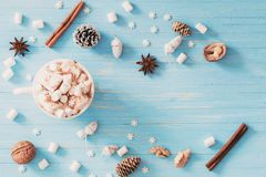 Hot chocolate with marshmallow on wooden background royalty free stock images