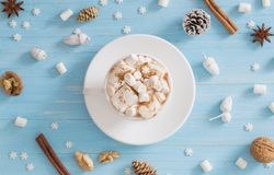 Hot chocolate with marshmallow on wooden background royalty free stock photos
