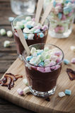 Hot chocolate with marshmallow on the wooden table Stock Photography