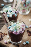 Hot chocolate with marshmallow on the wooden table Stock Photos