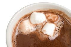 Hot Chocolate and Marshmallows. Cup of hot chocolate with mini marshmallows Royalty Free Stock Photography