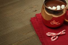 Hot chocolate with marshmallows and candy canes. Hot chocolate with Christmas marshmallows and candy canes Stock Image