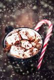 Hot chocolate with marshmallows; candy stick and Christmas decor Stock Images