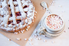 Hot chocolate with marshmallows and cherry pie Royalty Free Stock Image
