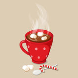 Hot chocolate with marshmallows stock illustration