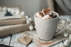 Hot chocolate with marshmallows Royalty Free Stock Images
