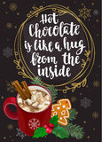 Hot Chocolate with marshmallows, cinnamon, holly, fir and gingerbread Christmas cookie. stock illustration